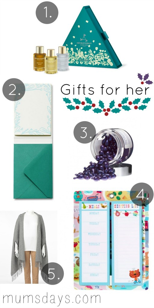 Christmas Gift Guide for her - 5 ideas that would appeal women young and old! Includes stationary, beauty products, cosy knitwear and getting organised! http://www.mumsdays.com/christmas-gift-guide-for-her/