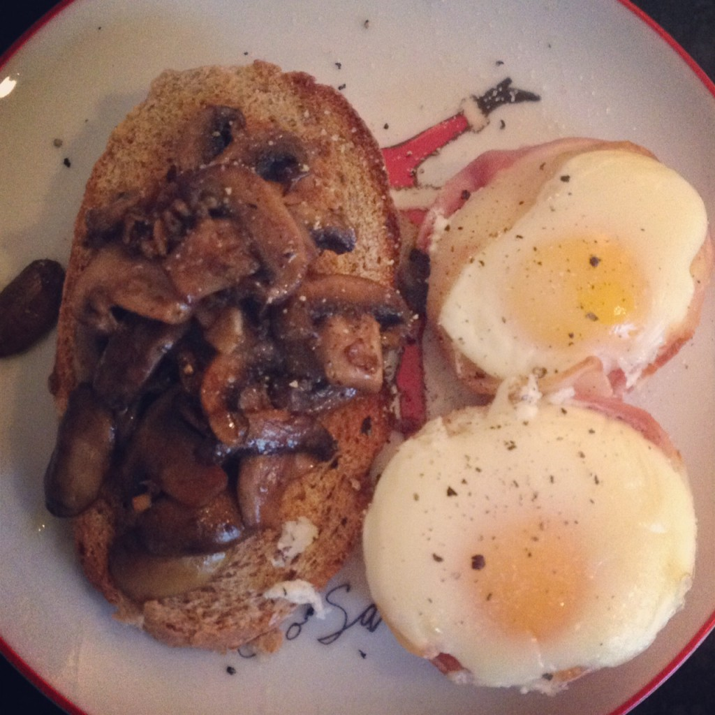Oven baked bacon and eggs with garlic mushrooms on toast! The List week 15