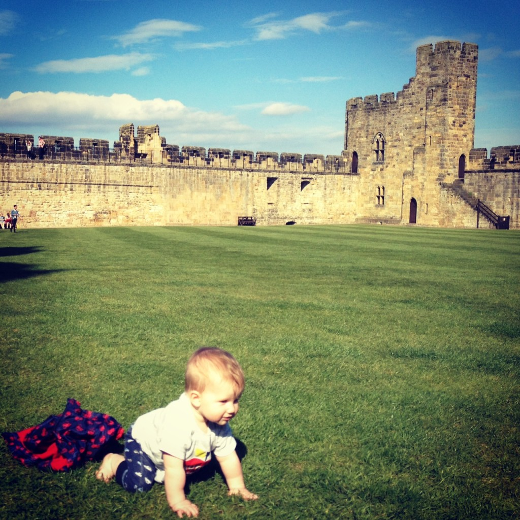 Northumberland Castles - 2015 Castles Challenge. Reuben crawling for the first time at alnwick castle