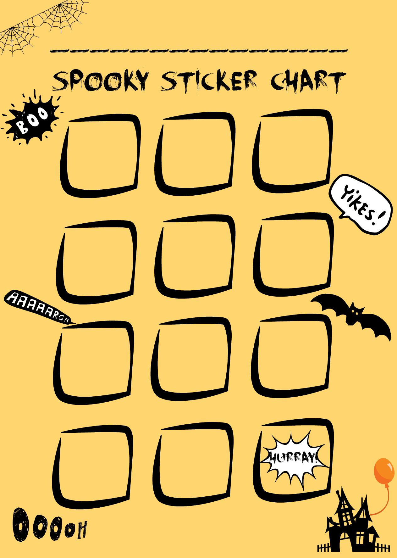 Halloween sticker chart - free printable sticker chart / reward chart
