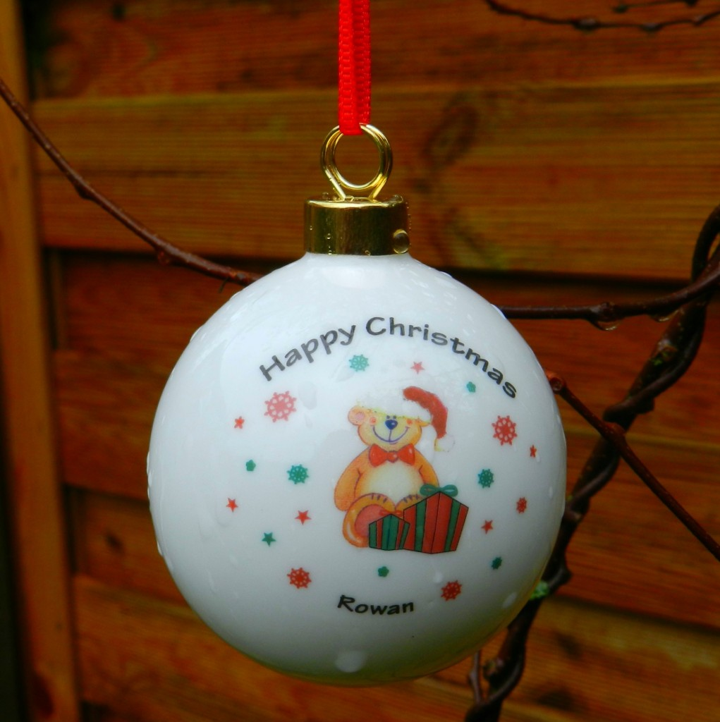 Personalised Christmas Gifts - I Just Love It Personalised Teddy in Hat Bauble