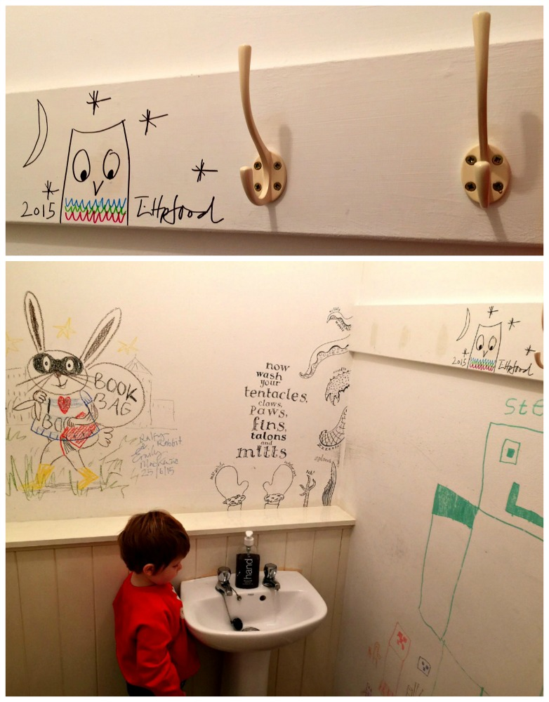 The Forum Bookshop fancy bathroom - decorated by children's authors, including Tim Hopgood!