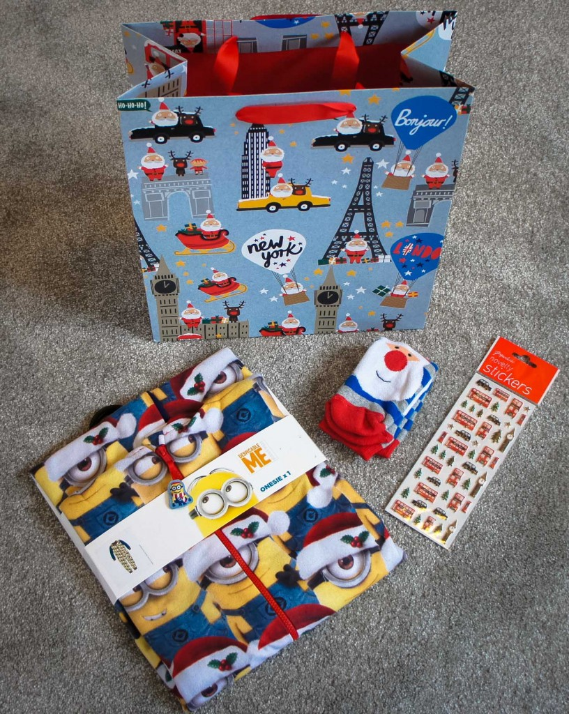 Advent Box for Reuben with Christmas Minion Onesie, Christmas socks and Stickers
