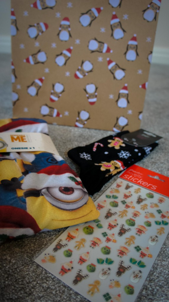 Advent Box for Gabby with Christmas Minion Onesie, Christmas socks and Stickers